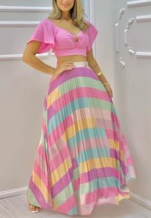 Conjunto de saia cortada de manga curta rosa estilosa de verão e listras coloridas em linha A