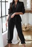 Осенний повседневный черный пиджак и комплект брюк
