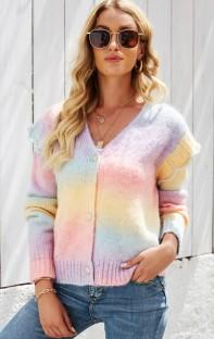 Suéter de manga larga con volantes y botones coloridos de invierno