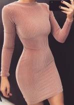 Herbst Elegantes Rosa Langarm Samt Bodycon Kleid