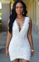 Sommer Sexy Weiß V-Ausschnitt Ärmelloses Spitze Bodycon Kleid
