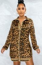 Herbst Sexy Leopard Umlegekragen Langarm Blose Kleid