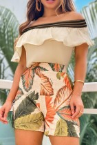 Summer Khaki Off Shoulder Ruffled Top and Leaf Printed Shorts Set