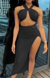 Летний черный укороченный топ с платьем с разрезом