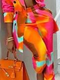 Completo giacca e pantaloni autunno casual tie dye