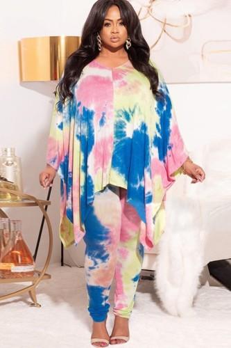 Ensemble de haut ample et de pantalons assortis tie-dye d'automne de grande taille