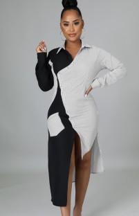 Vestido de camisa irregular de cor contrastante na moda outono gola manga comprida