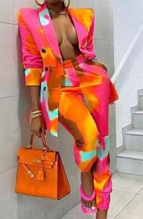 Conjunto de blazer e calças tie-dye casual outono