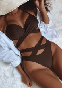 Summer Sexy Brown Tie Hollow Out Two Piece Swimsuit