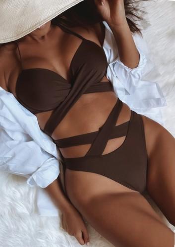 Sommer Sexy Brown Tie Aushöhlen Zweiteiler Badeanzug