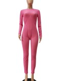Autumn Sexy Pink See through Long sleeve Jumpsuit