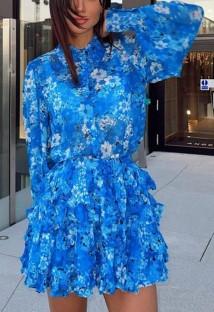 Sonbahar Mavi Çiçek Desenli Uzun Kol Midi Elbise