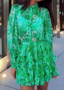 Sonbahar Yeşil Çiçek Desenli Uzun Kol Midi Elbise