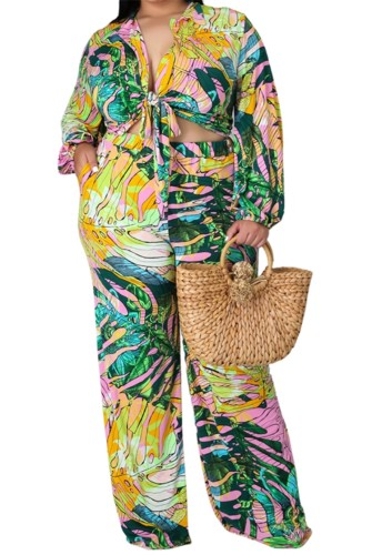Ensemble chemisier et pantalon à manches longues et imprimé automne grande taille
