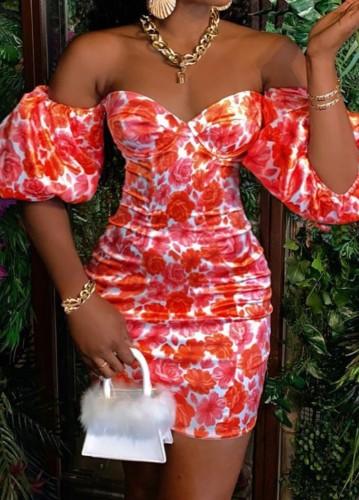 Mini-robe imprimée rouge d'été à épaules dénudées et manches bouffantes