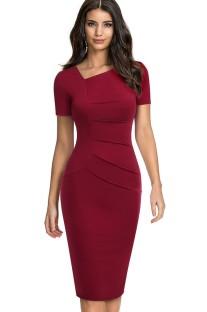 Summer Vintage Red Irregular Neck Short-sleeve Mini Dress