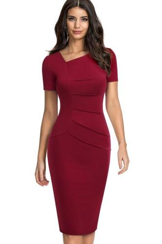 Mini abito estivo a maniche corte con collo irregolare rosso vintage