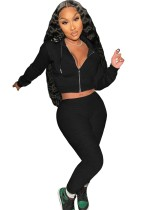 Autumn Black Hoodies with zipper long sleeve Crop Top and Pant Set