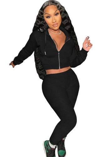 Sweats à capuche noirs d'automne avec ensemble haut court et pantalon zippé à manches longues