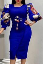 Vestido ajustado de manga tres cuartos azul elegante de otoño