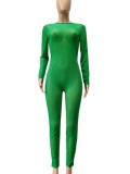 Autumn Sexy Green See through Long sleeve Jumpsuit