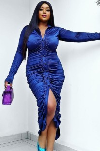 Autumn Blue Button-Open wrinkles Long sleeve Shirt Dress