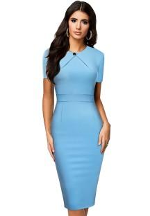 Summer Vintage LT-Blue O-Neck Short-sleeve Slim Bodycon Dress