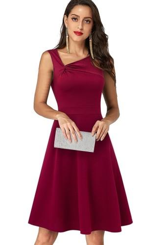 Mini abito senza maniche con collo irregolare rosso vintage estivo