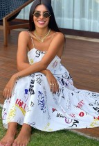 Ärmelloses langes Kleid mit Sommer-Print