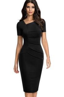 Summer Vintage Black Irregular Neck Short-sleeve Mini Dress
