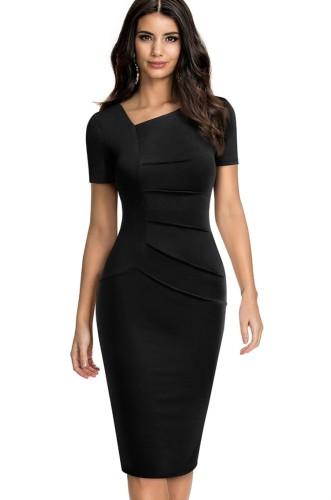 Mini abito estivo a maniche corte con collo irregolare nero vintage