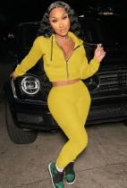 Sudaderas con capucha amarillas otoñales con conjunto de pantalón y top corto de manga larga con cremallera