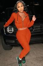 Otoño naranja sudaderas con capucha con cremallera manga larga Crop Top y conjunto de pantalón