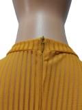 Herfst sexy gele doorschijnende jumpsuit met lange mouwen