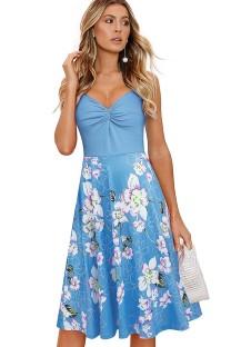 Summer Vintage Print Sleeveless Skater Dress