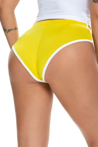 Culotte Sprots moulante à bords blancs et jaune d'été
