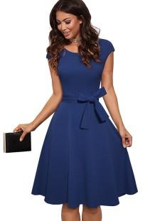 Summer Vintage Blue Belted Short Sleeve Skater Dress