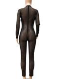 Herfst sexy zwarte doorschijnende jumpsuit met lange mouwen