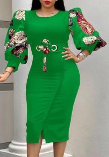 Abito aderente con maniche a tre quarti con stampa verde elegante autunnale