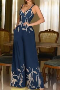 Summer Elegant Leaf Printed Blue Straps Wide-legged Jumpsuit