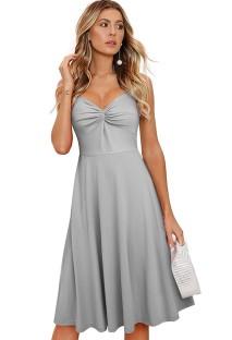 Summer Vintage Grey Sleeveless Skater Dress