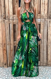 Summer Elegant Leaf Printed Green Hollow Out Halter Wide-legged Jumpsuit
