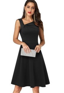 Summer Vintage Black Irregular Neck Sleeveless Mini Dress