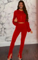 Autumn Red Hoodies with zipper Puffed sleeve Crop Top and Stacked Pant Set
