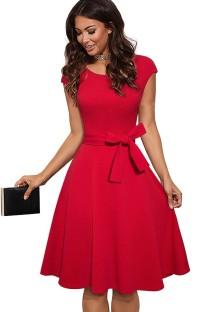 Summer Vintage Red Belted Short Sleeve Skater Dress