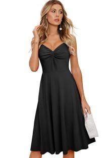 Summer Vintage Black Sleeveless Skater Dress