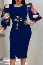 Vestido ajustado de manga tres cuartos azul marino elegante de otoño