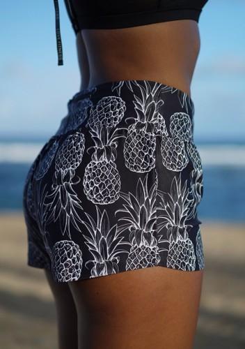 Summer Pineapple Printed Black Holiday Mini shorts cortos