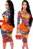 Herfst kleurrijke bodycon midi-jurk met lange mouwen