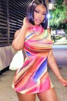 Mini abito senza maniche multicolor sexy estivo